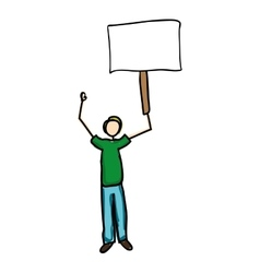 Man holding blank sign cartoon icon image vector