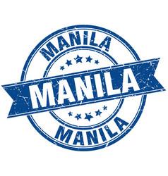 Manila blue round grunge vintage ribbon stamp vector