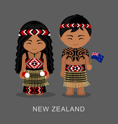 Maori new zealanders in national dress with a vector