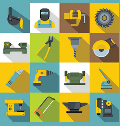 Metal working icons set flat style vector