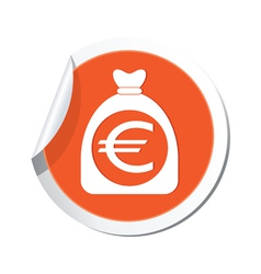 moneybag euro icon orange label vector image