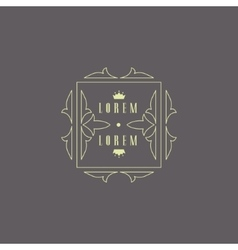 Monogram Design Template with Crown vector image