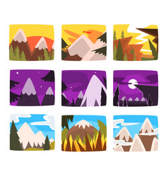 mountain landscapes set in different times day vector image