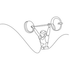 one single line drawing fit young athlete vector image