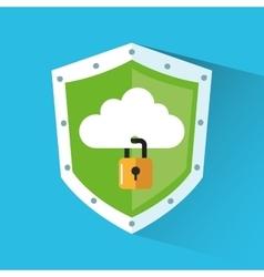 Padlock and cloud inside shield design vector