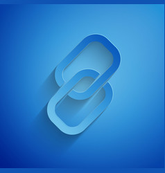 Paper cut chain link icon isolated on blue vector