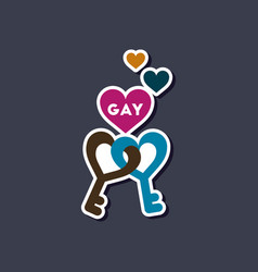 Paper sticker on stylish background of gays keys vector