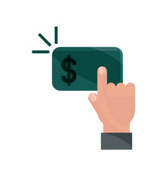 Payments online clicking hand button flat icon vector