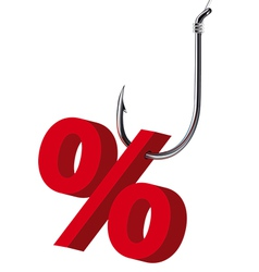 Percent sign on hook isolated vector