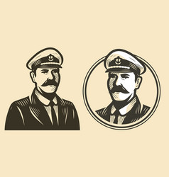 portrait ship captain sailor sketch vintage vector image