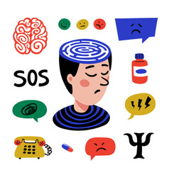 psychology set hand drawn icons on theme of vector image