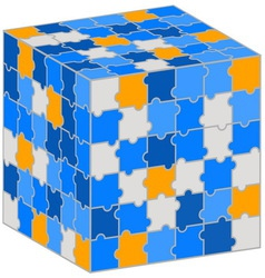 Puzzle cube for your business presentation vector image