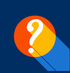 Question mark sign white icon on tangelo vector