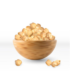 raw dry chickpea grains in bowl isolated vector image