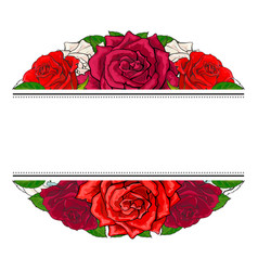 Red roses bouquet in oval shape with line sticker vector