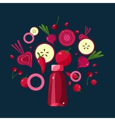 Red Smoothie Recipe of Ingredients vector image