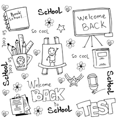 School tools for kid in doodle vector