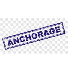 Scratched anchorage rectangle stamp vector