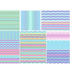 set 12 seamless pattern with wavy colorful lines vector image