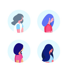set diversity woman profile isolated hairstyle vector image