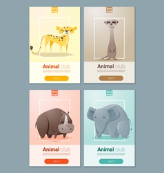 Set wild animal templates for web design 2 vector