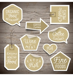Slogans stickers food organic vector