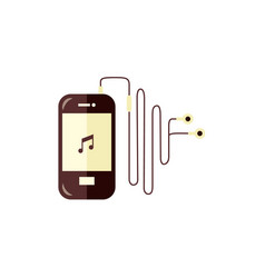smartphone with music player app turned on and vector image