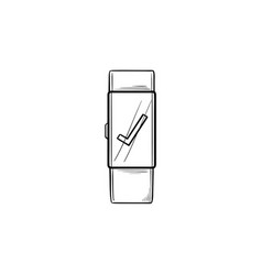 smartwatch with check mark hand drawn outline vector image