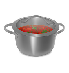 soup in a metal pan with a transparent glass lid vector image