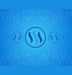 Steem blockchain on blue background vector