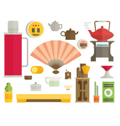 Tea ceremony icon set flat vector