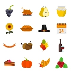 Thanksgiving icons set flat style vector image