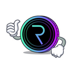 Thumbs up request network coin character cartoon vector