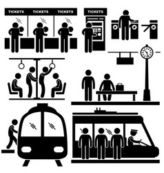 Train commuter station subway man passengers vector