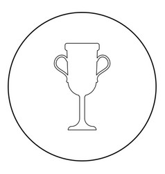 trophy cup icon black color in circle vector image