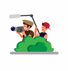 Two man hiding in bushes and recording camera vector