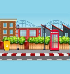 Urban street scene background vector