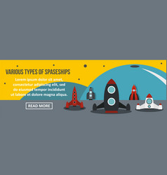 various types of spaceship banner horizontal vector image