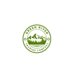 vintage river lake pine forest mountain logo vector image