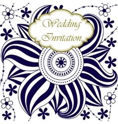 Wedding invitation with big flower vector