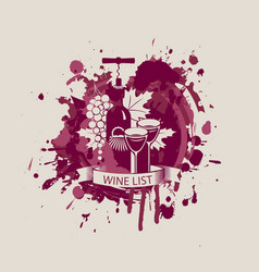 Wine list with a bottle two glasses and grapes vector