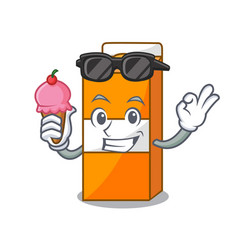 With ice cream package juice character cartoon vector