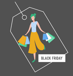 woman with shopping bags and presents people vector image