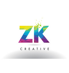 zk z k colorful letter origami triangles design vector image