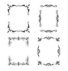 black patterned frames set vector image vector image