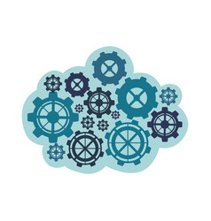 blue gears icon image vector image