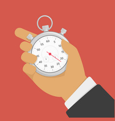 male hand holding stopwatch vector image