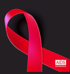 realistic red ribbon on black vector image vector image