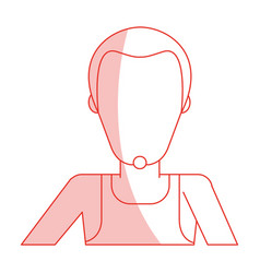 red silhouette shading faceless half body man with vector image vector image
