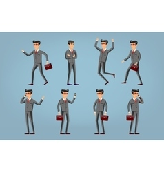 businessman in a gray suit set Collection of vector image vector image